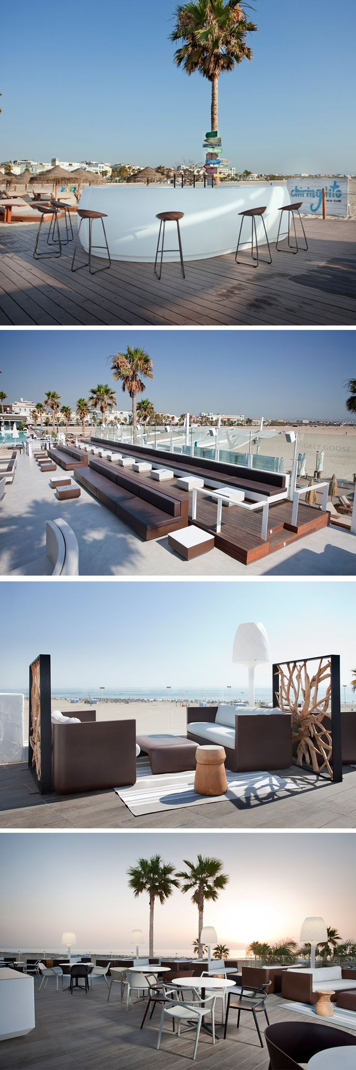 This beach club plays the cozy and recall to nature with tones and selected materials. As an extension of the beach in the background. Most of the furniture is from the Vondom brand. These are mainly VELA and ULM collections. What do you think?   #professionalfurniture #beachclub #bar #inspiration #palm #plage #vondom #barazzi