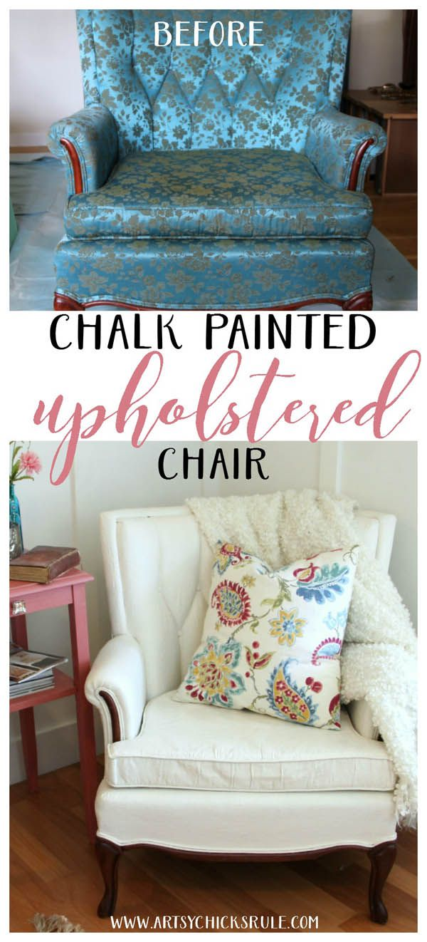 You can paint fabric!! Don't like your chair? PAINT IT!! - artsychicksrule.com #paintedupholstery #chalkpaintedchair #chalkpaint