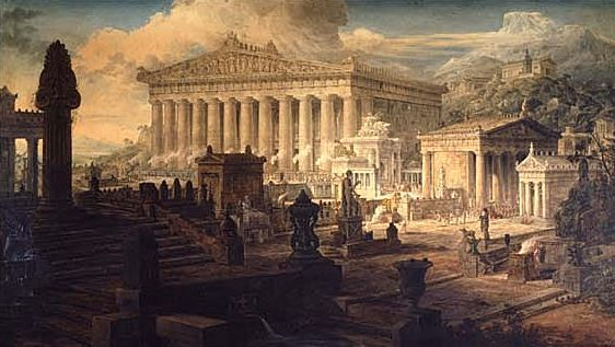 "This is ""The temple of Demeter"" a  painting by Joseph Gandy in 1818. This gives us his idea of what the site at Eleusis might have looked like around 200 CE."