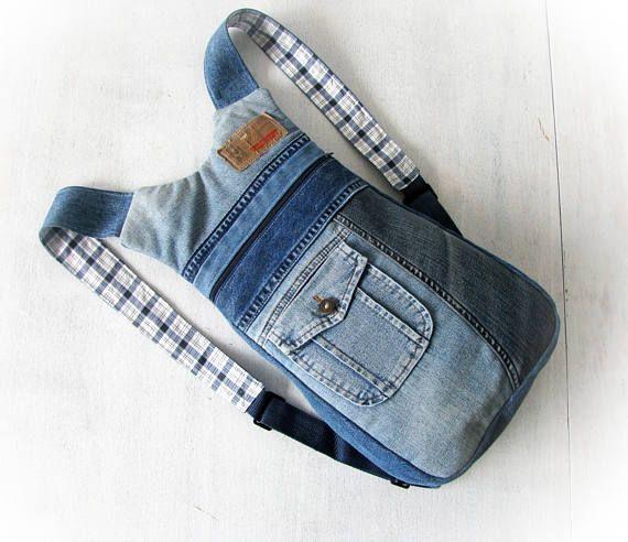 Mochila de jeans unisex ipad a ipad mochila hecha a mano