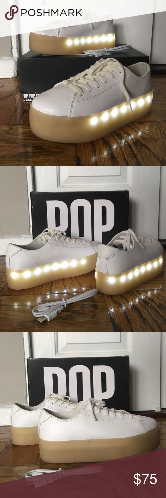 """POP Drummond Light Up Platform Sneakers """"The Drummond speaks for itself, the shoe that lifts you up will also light you up. Plus, like all POP Shoes, the Drummond features rechargeable LED lights that turn on and off, and have three settings: fast flash, slow flash and continuous. Our collection of light up sneakers come with a dual-charging micro USB cable so you can charge them!"""" - I couldn't find my size so I bought a size up (9). I wore them once with 2 pairs of socks and insoles but…"""