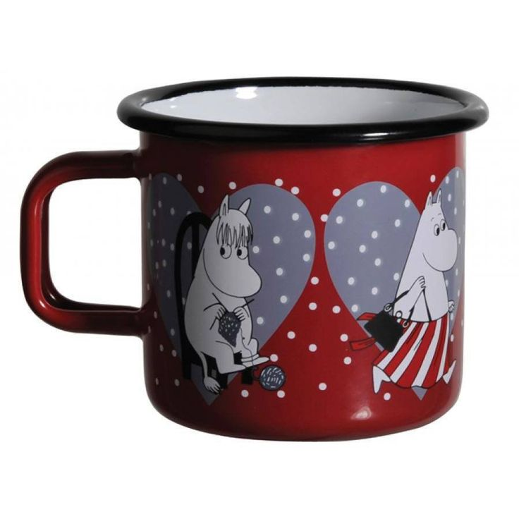 Moomin Hearts mug holds 3,7 dl, perfect for cheering your day up!Muurla combines design with durability in this retro Moomin enamel mug. Dishwasher safe, oven safe, freezer safe.