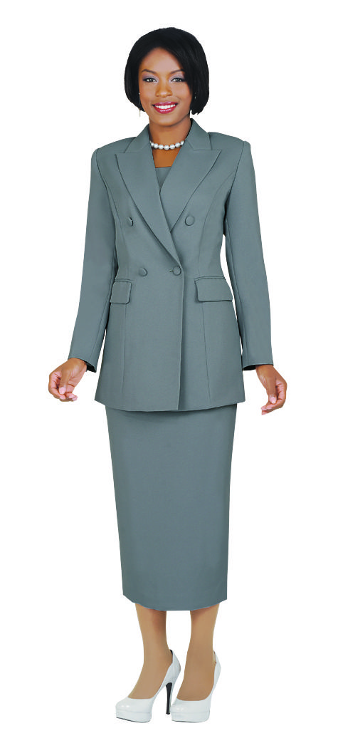 Benmarc 2 piece Usher suit made in a crepe fabric with detachable dickie. Both the jacket and skirt are lined and the suit is washable. Double Breasted Jacket is 31 inches long. The skirt is 34 inc…