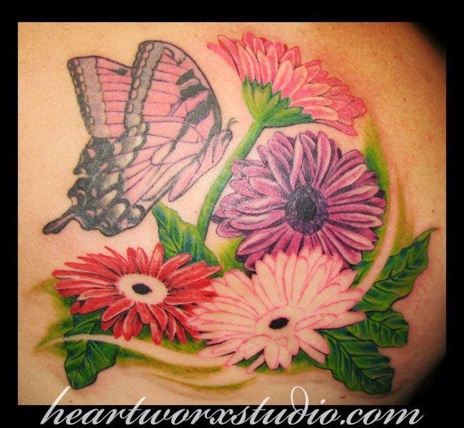 gerbera daisy tattoo designs | Gerbera Daisy n Butterfly Tattoo Image