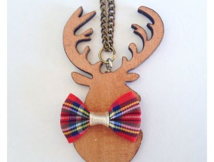 Wooden deer and bow tie necklace