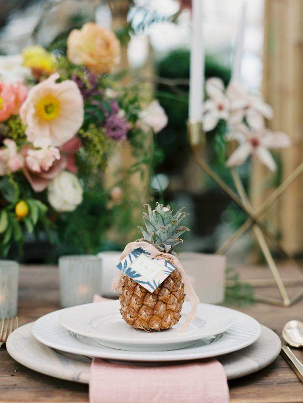 pineapple wedding ideas - photo by Green Apple Photography http://ruffledblog.com/tropical-greenhouse-wedding-ideas