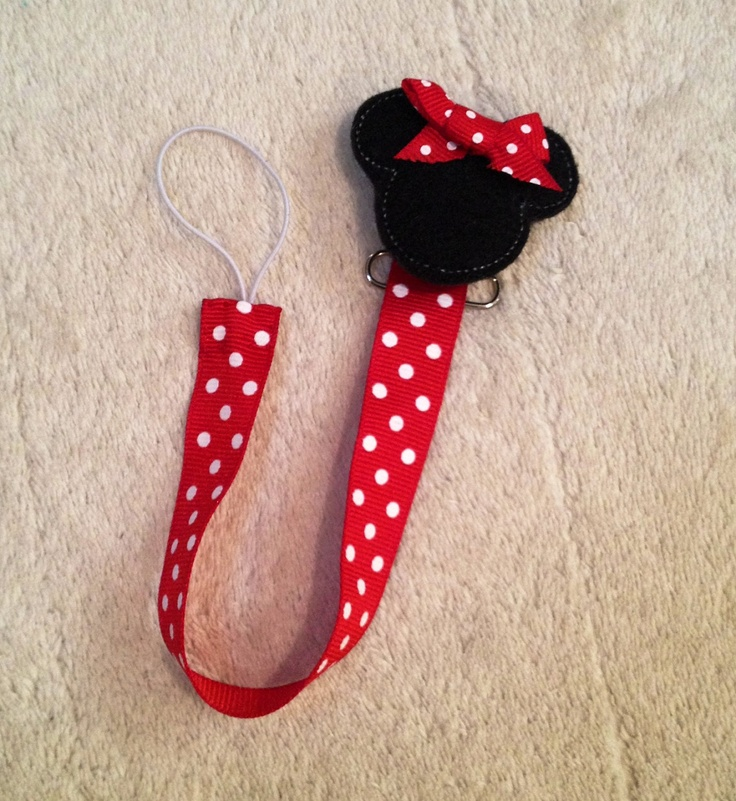 Minnie Mouse Pacifier Clip - Universal fits Soothie and Gumdrop - Baby Girls Shower Gift. $7.95, via Etsy.