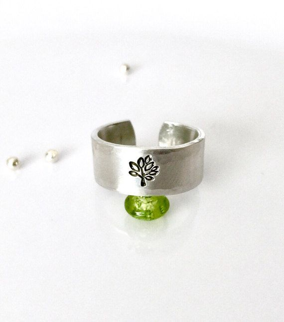 Tree Ring Hand Stamped Ring Tree of Life by AprilHyltonDesigns