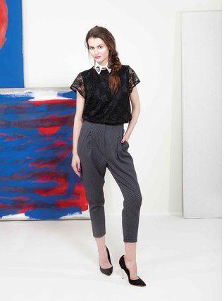Alchymi - Černé elegantní kalhoty se vzorem  Castor - 1
