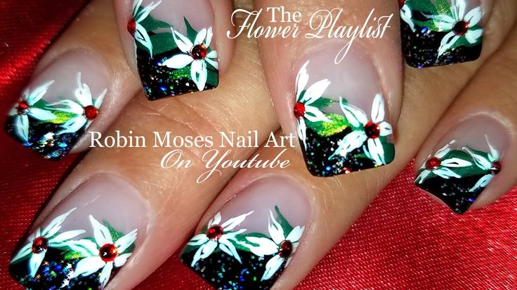 DIY White flower Nails | Elegant Christmas Nail Art Design Tutorial