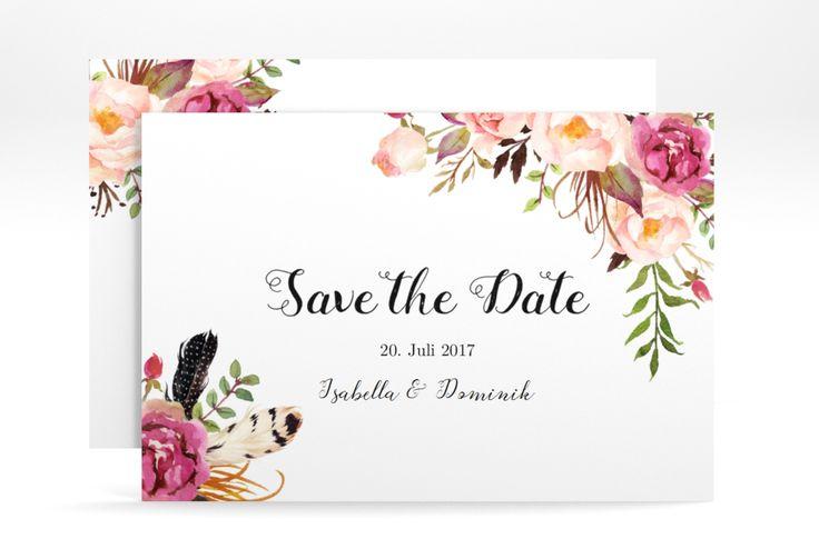 "Save the Date-Karte ""Flowers"" A6 Karte weiss"