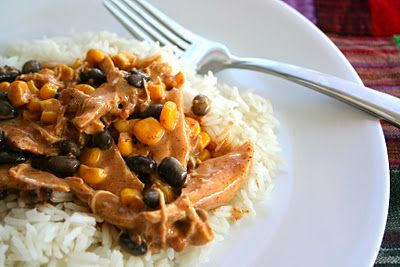 slow cooker salsa chicken atop rice...could freshen this up with cilantro and fresh veggies!