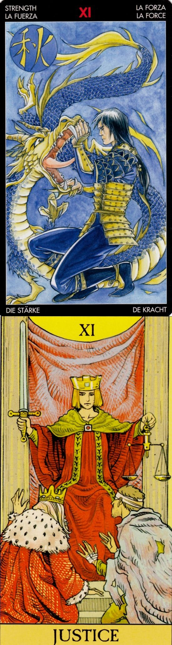 JUSTICE: karmic retribution and unfair (reverse). Manga Tarot deck and After Tarot Tarot deck: biddytarotultimate guide, one card tarot reading and vintagetarotcards. Best 2017 divination witch and rituals witchcraft.