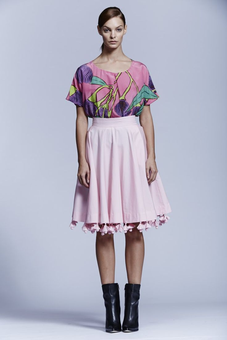Native Flower Top and RP Light Pink Skirt. Roopa Pemmaraju Spring/Summer 2014/15, Urban Culture Collection. Artist: Reko Rennie (Top)