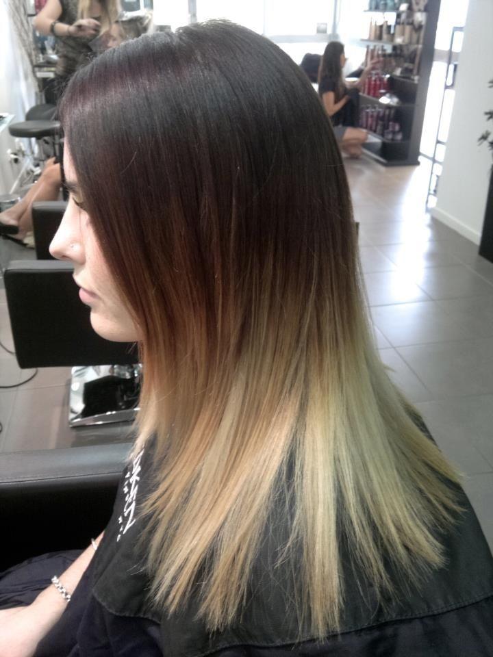 Balayage brown to blonde
