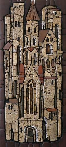 Gothic 730h335 relief mosaic design: Galina Sergeichik Sayanogorsk 2014 Easel mosaic - Sergey Karlov