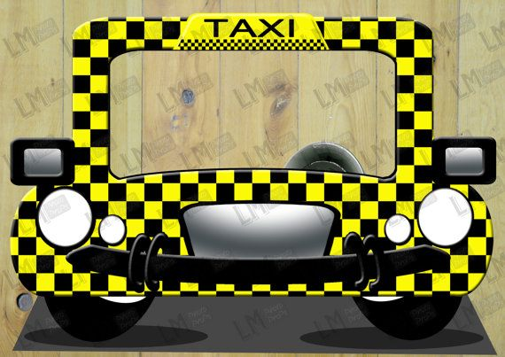 EXtra Large Yellow & Black  Taxi Photo Booth Prop  by LMPhotoProps