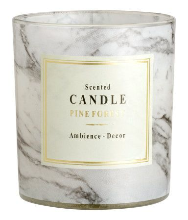 Scented candle in a glass holder. Size 3 x 3 1/2 in. Burn time 28 hours.