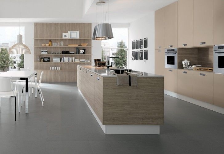 Kitchen, Modern Minimalist Kitchen Soft Wood Kitchen Cabinets Metal Countertop A Kitchen Island With Glossy Metal Counter Sink Faucet Storage System A Pair Of Metal Pendant Lamps White Dining Furniture ~ Ultra Modern Kitchen Styles