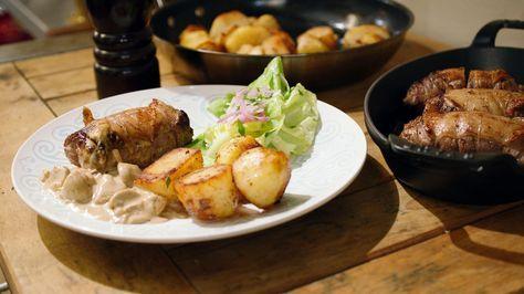 Blinde vinken met champignon-mosterdsaus en gebakken aardappelen