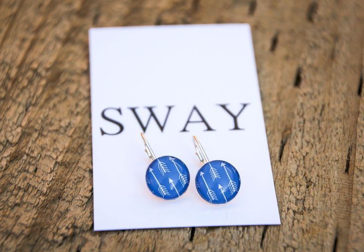 925 Sterling Silver French hoop style earring with Blue Arrow print glass stone.