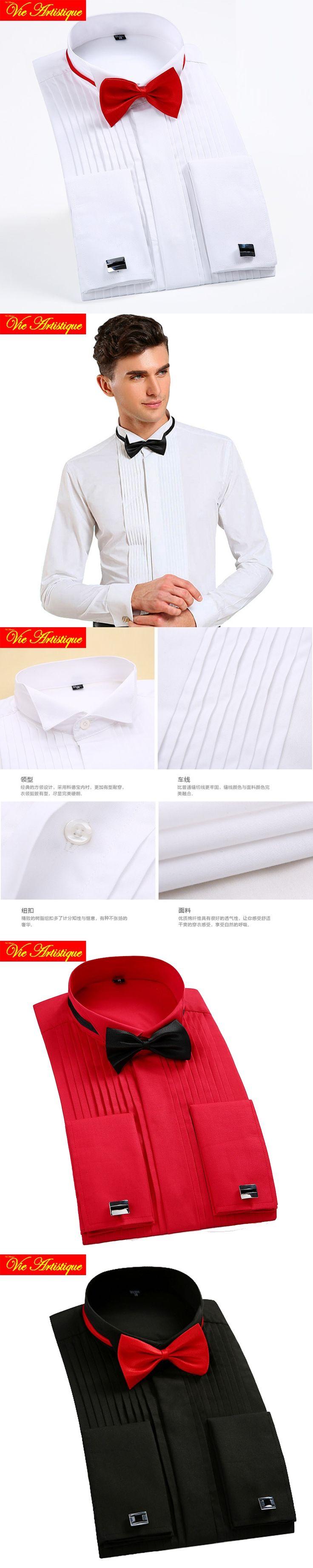 men wedding shirts male long sleeve tuxedo Groom dress shirts big size 678910 XL french cuff red white black cottonblend 2018 VA