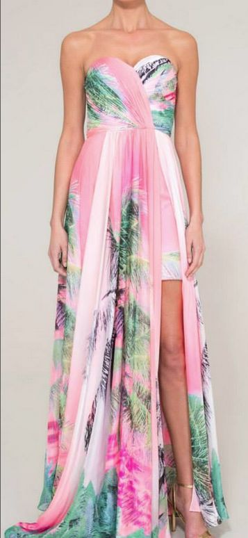 Tropical Print Evening Gowns