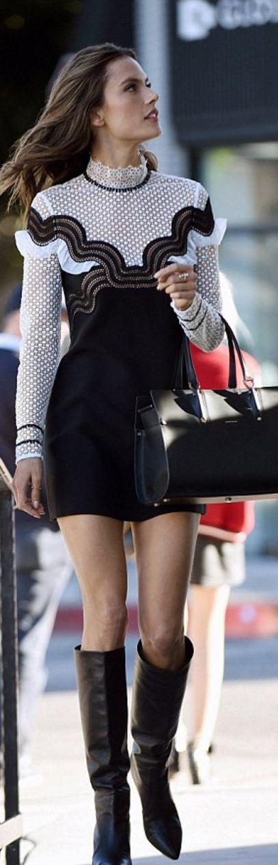 Alessandra Ambrosio': Dress – – Self Portrait Jewelry – Ileana Makri Purse – Longchamp