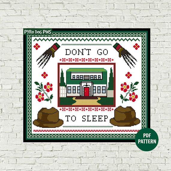Don't Go To Sleep Cross Stitch Pattern PDF Modern by PyroDogPins