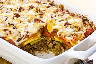 Salsa-Quinoa Layer Bake recipe - Serve topped with fat-free sour cream and chopped fresh cilantro! ENJOY!
