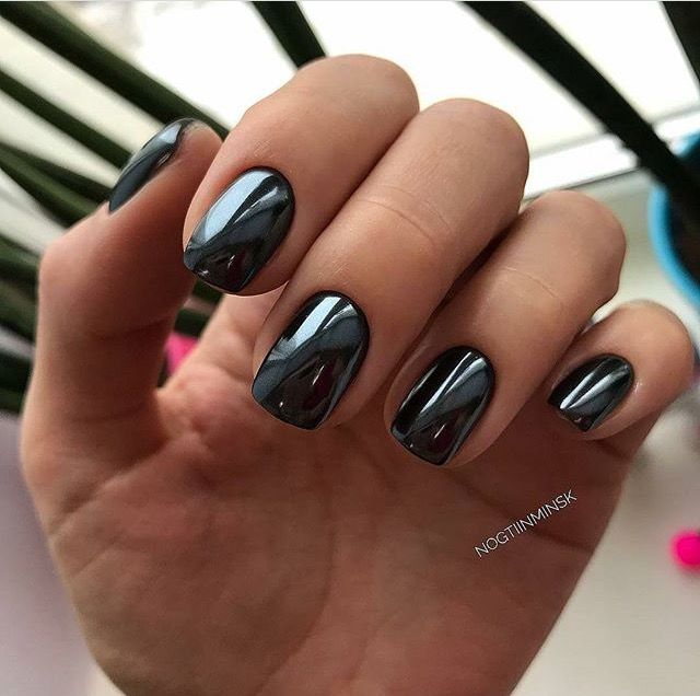 Black Mirror Nails Mirror Nails Chrome Nails Manicure