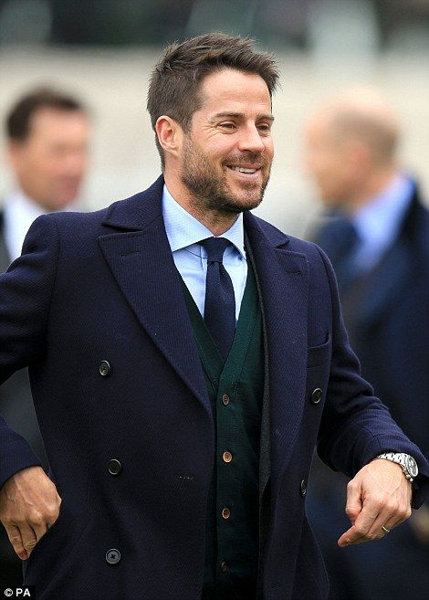 Famous faces: Football pundit Jamie Redknapp looked sharp in a navy blue peacoat and bottl...