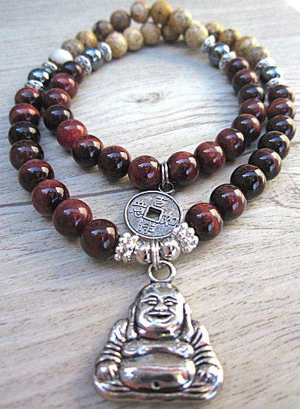 Mala bracelet poignet 54 oeil de tigre rouge, jasper picture et hématite- pendentif buddha de la boutique BijouxDesignselect sur Etsy