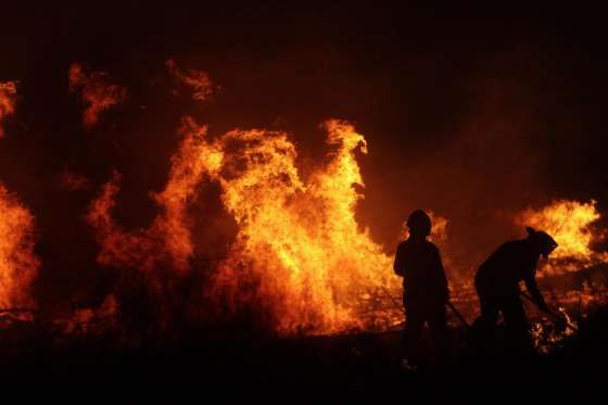 Firefighters fight a forest fire in the the town of Portezuelo, province of Nuble, south of Santiago - Spark