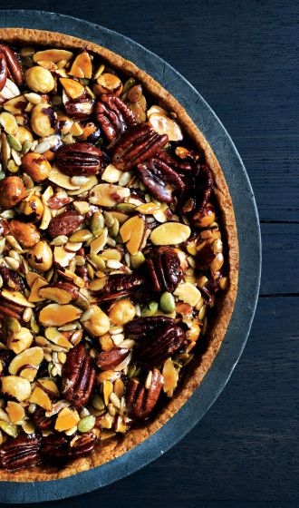 Caramelized-Honey Nut and Seed Tart recipe: The press-in crust couldn't be easier.