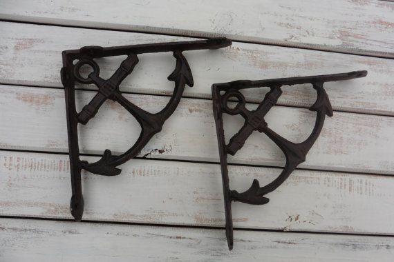 Set of 2 ANCHOR Shelf Brackets - Cast Iron - Nautical Beach Old World Rustic - Wall Decor - Corner Trims - Home Decor