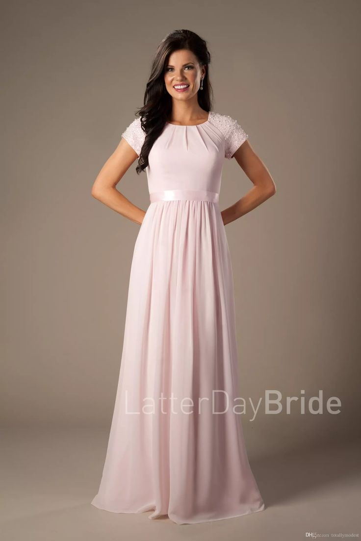 Best 25 long elegant dresses ideas only on pinterest short beaded pink long chiffon modest bridesmaid dresses with cap sleeves elegant evening wedding party dresses a ombrellifo Image collections