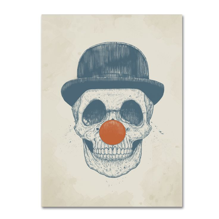 This ready to hang, gallery-wrapped art piece features a drawing of a skull with a red clown nose and a dark bowler hat. Balazs Solti is a self-taught freelance illustrator from Budapest, Hungary who