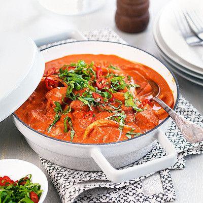 Korv stroganoff med chili & basilika