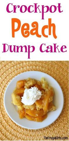 Crockpot Peach Dump Cake Recipe! - from TheFrugalGirls.com ~ just a few ingredients and you've got yourself the most delicious Slow Cooker dessert! So easy and SO good! #desserts #recipes #thefrugalgirls