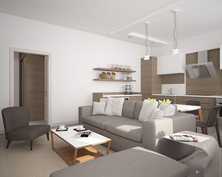 Открытые полки и белые шкафчики в кухонной зоне не скрадывают пространство помещения.