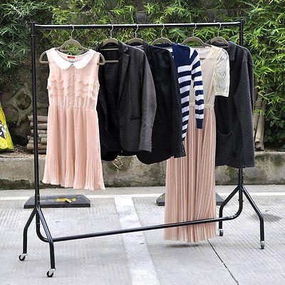 US Heavy Duty Clothes Rail Garment Rack Shelf Clothes Hanger Strong Construction