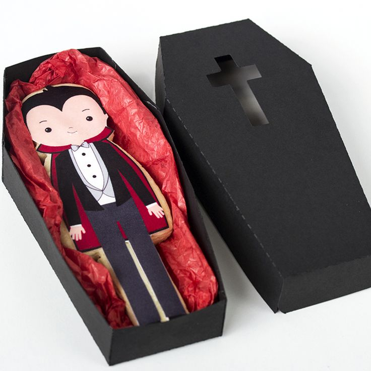 Vampire cookie in a coffin. Great gift for Halloween