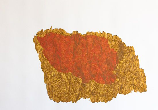 Ruth Thomas-Edmond. Ramble rustling. 2010. 750 x 1000 mm. acrylic on paper.