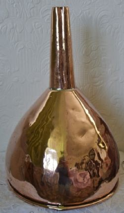 Antique English Victorian Copper Funnel ~ SOLD by www.applecrossantiques.com