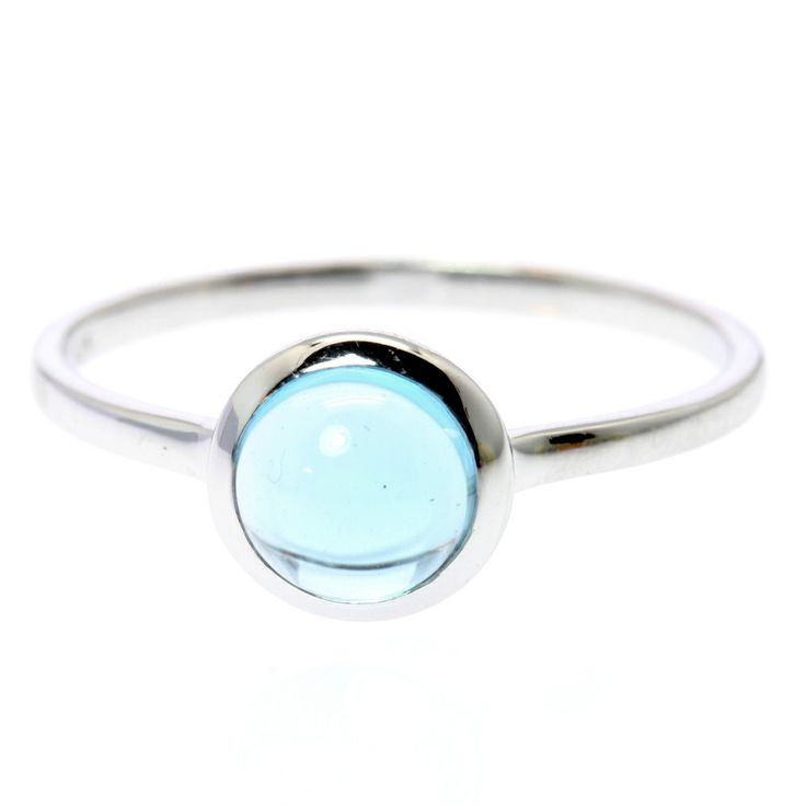 Blue Topaz Cabochon Ring