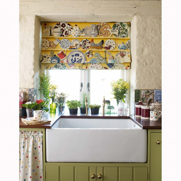 "Pretty Kitchen Roman Shade Valance. Fabric: . ""The Dresser"