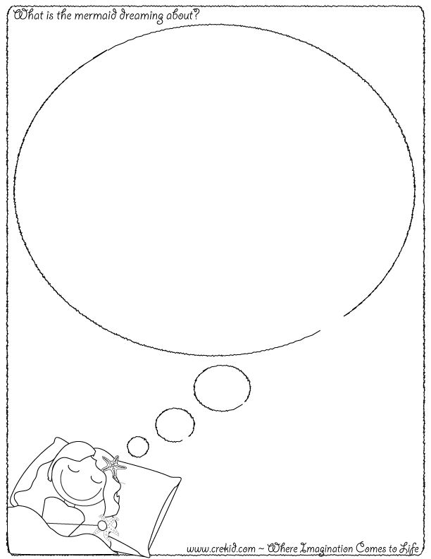What is the mermaid dreaming about?  CreKid.com - Creative Drawing Printouts - Spark your child's imagination and creativity. So much more than just a coloring page. Preschool - Pre K - Kindergarten - 1st Grade - 2nd Grade - 3rd Grade. www.crekid.com