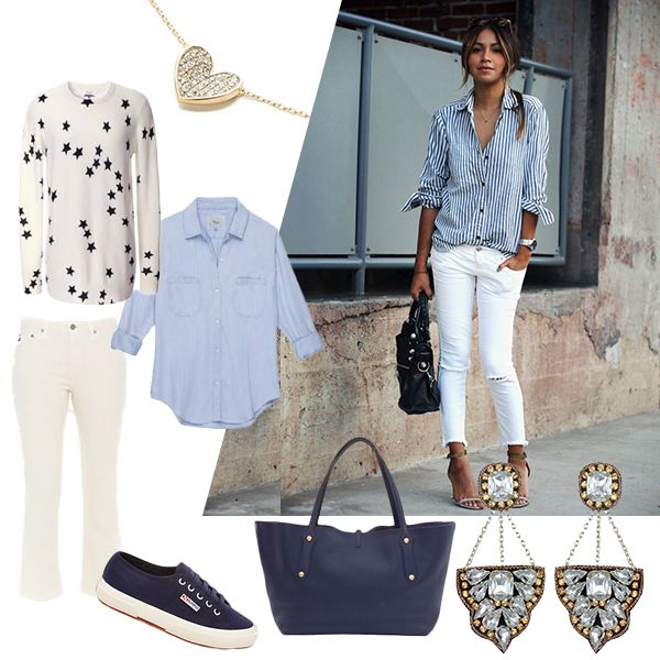 Stealing from the boys! Inspiration: The Men's Room! Pair up a boyfriend striped button-down with frayed jeans for an updated Resort look that's sure to turn their heads... #AdinaReyter #SuzannaDai #AnabellIngall #Equipment #AGjeans #superga #rails #freshmerchdaily #onlyinNYC #lotd #ootd #giftideas