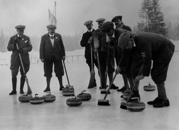 (1924; Chamonix, France) The British curling team practicing.